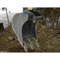 Godets de terrassement  Godet terrassement standard 250 MM en a/r MBI CR15 TWIN LOCK pour minipelle entre 1,2-1,8T